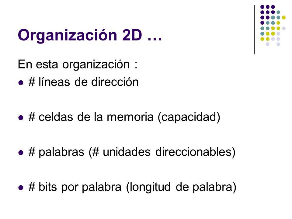 Organización 2D … En esta organización : # líneas de dirección # celdas de la memoria (capacidad) # palabras (# unidades direccionables) # bits por pa
