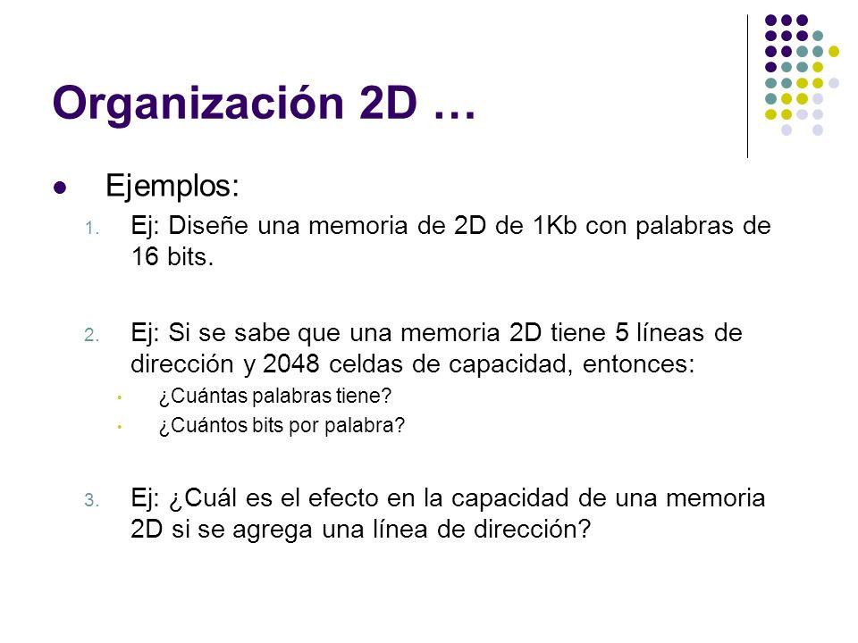 Organización 2D … Ejemplos: 1. Ej: Diseñe una memoria de 2D de 1Kb con palabras de 16 bits. 2. Ej: Si se sabe que una memoria 2D tiene 5 líneas de dir