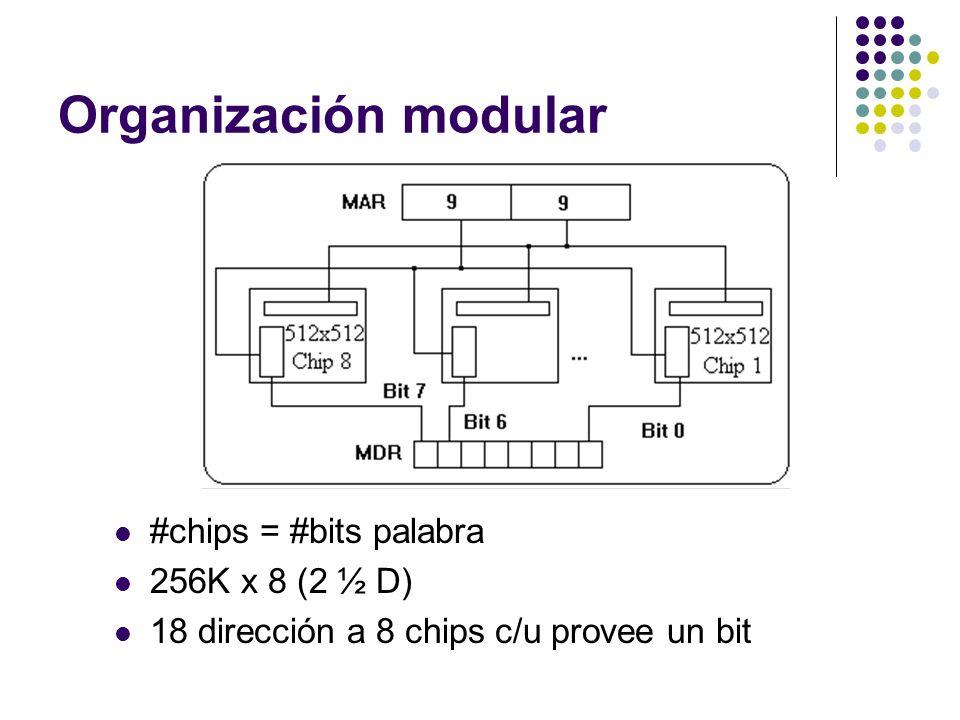 Organización modular #chips = #bits palabra 256K x 8 (2 ½ D) 18 dirección a 8 chips c/u provee un bit