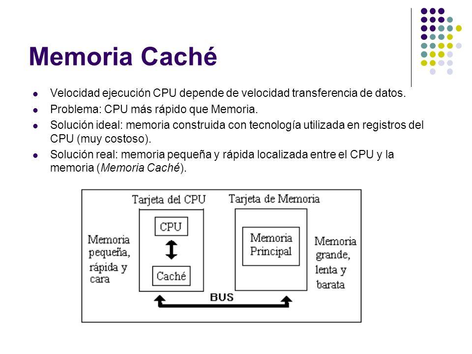 Memoria Caché Velocidad ejecución CPU depende de velocidad transferencia de datos. Problema: CPU más rápido que Memoria. Solución ideal: memoria const