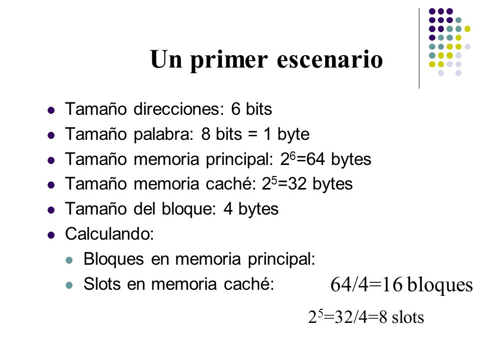 Un primer escenario Tamaño direcciones: 6 bits Tamaño palabra: 8 bits = 1 byte Tamaño memoria principal: 2 6 =64 bytes Tamaño memoria caché: 2 5 =32 b