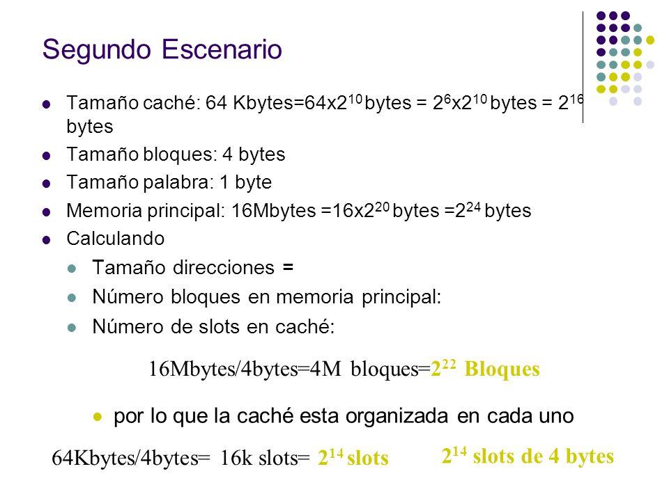 Segundo Escenario Tamaño caché: 64 Kbytes=64x2 10 bytes = 2 6 x2 10 bytes = 2 16 bytes Tamaño bloques: 4 bytes Tamaño palabra: 1 byte Memoria principa