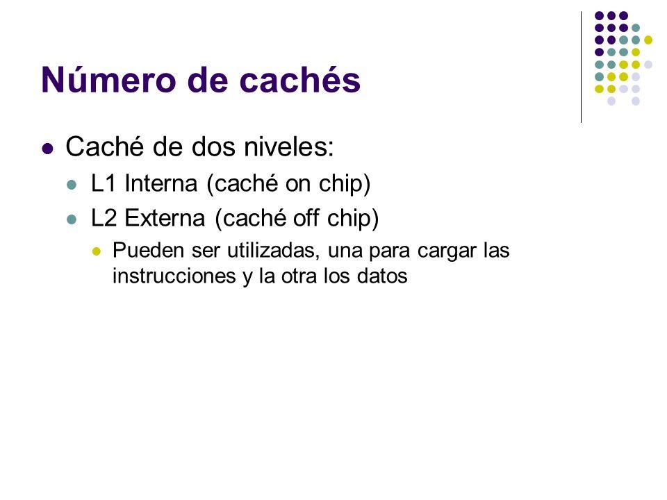Número de cachés Caché de dos niveles: L1 Interna (caché on chip) L2 Externa (caché off chip) Pueden ser utilizadas, una para cargar las instrucciones