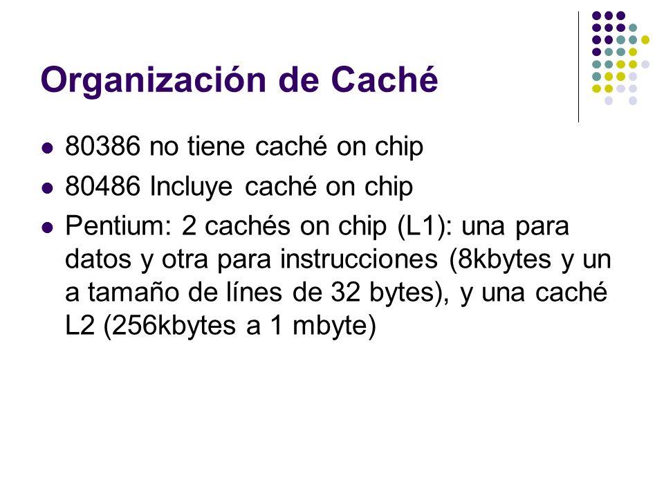 Organización de Caché 80386 no tiene caché on chip 80486 Incluye caché on chip Pentium: 2 cachés on chip (L1): una para datos y otra para instruccione