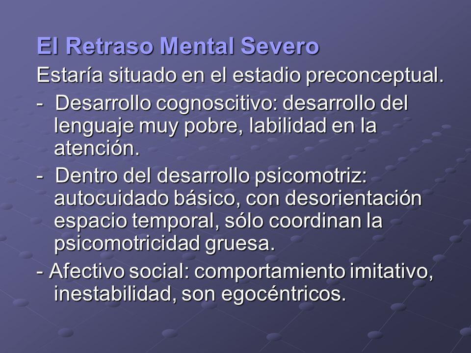 El Retraso Mental Severo Estaría situado en el estadio preconceptual. - Desarrollo cognoscitivo: desarrollo del lenguaje muy pobre, labilidad en la at