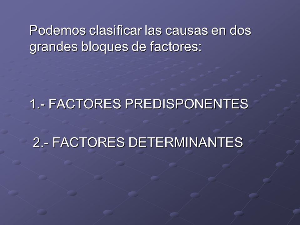 Podemos clasificar las causas en dos grandes bloques de factores: Podemos clasificar las causas en dos grandes bloques de factores: 1.- FACTORES PREDI