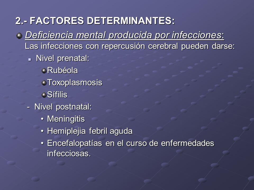 2.- FACTORES DETERMINANTES: Deficiencia mental producida por infecciones: Las infecciones con repercusión cerebral pueden darse: Nivel prenatal: Nivel