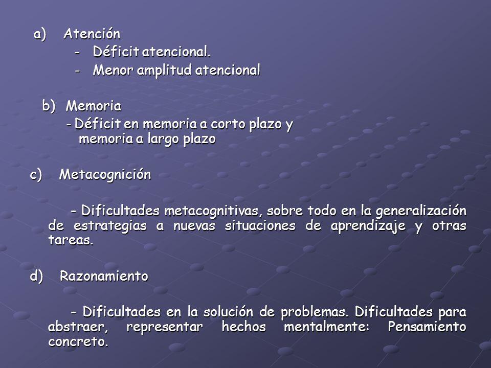 a) Atención a) Atención - Déficit atencional. - Déficit atencional. - Menor amplitud atencional - Menor amplitud atencional b) Memoria b) Memoria - Dé