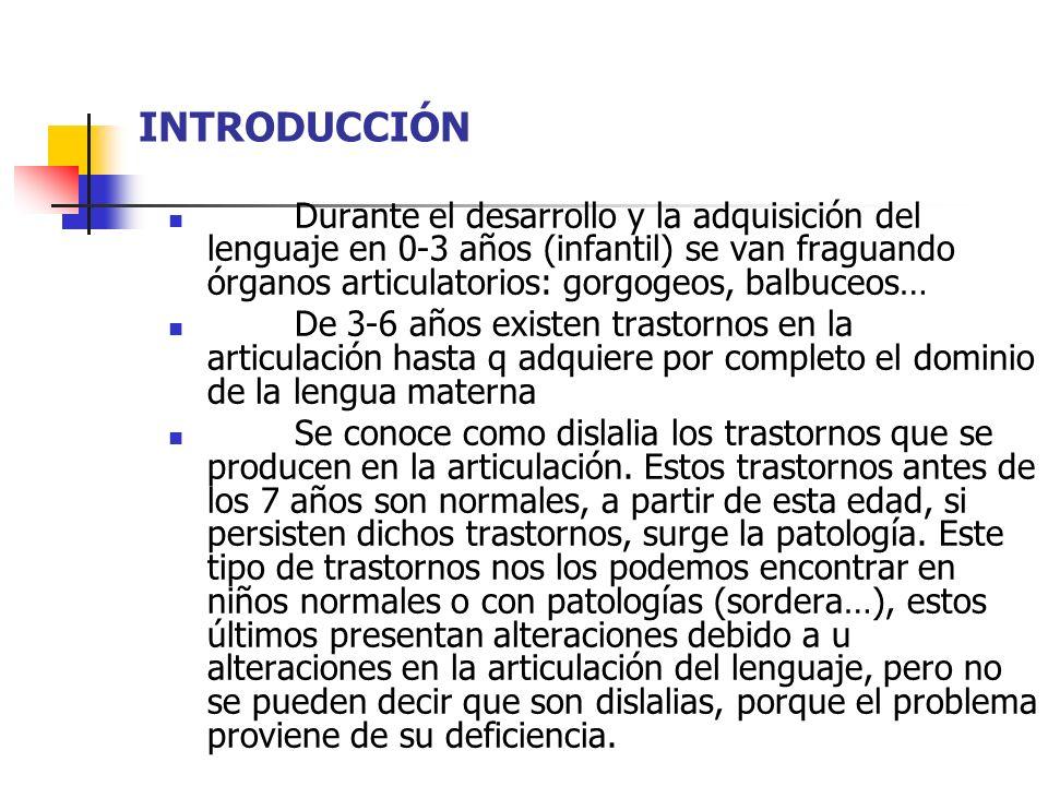 INTRODUCCIÓN Durante el desarrollo y la adquisición del lenguaje en 0-3 años (infantil) se van fraguando órganos articulatorios: gorgogeos, balbuceos…