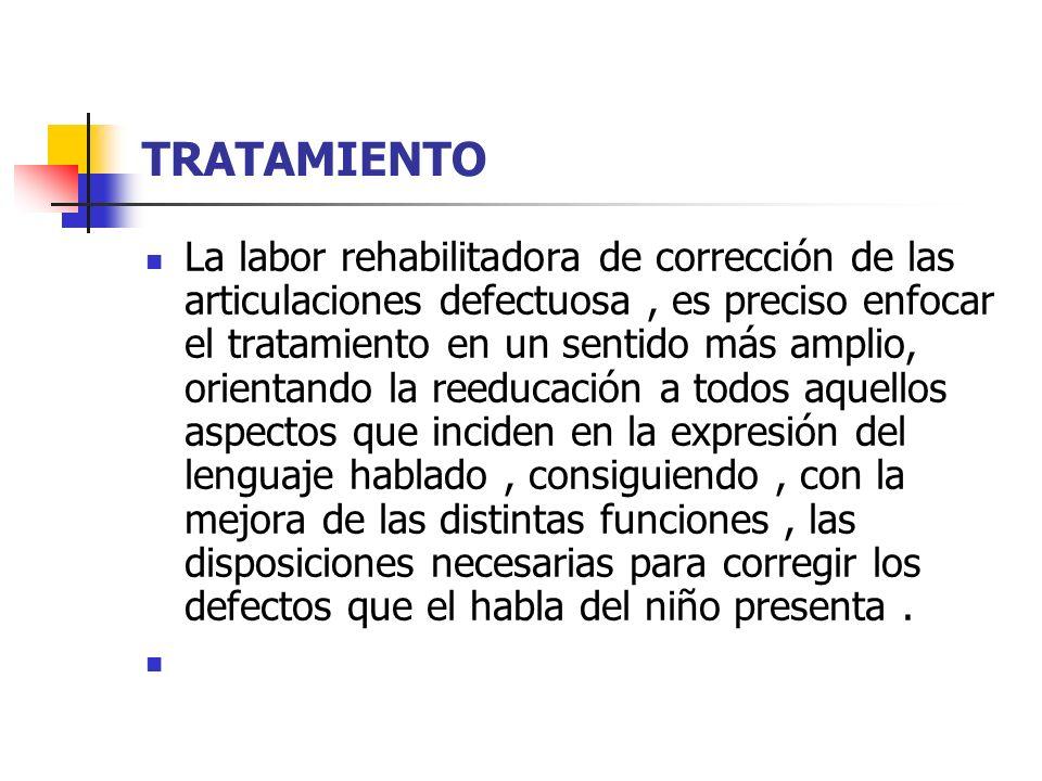 TRATAMIENTO La labor rehabilitadora de corrección de las articulaciones defectuosa, es preciso enfocar el tratamiento en un sentido más amplio, orient