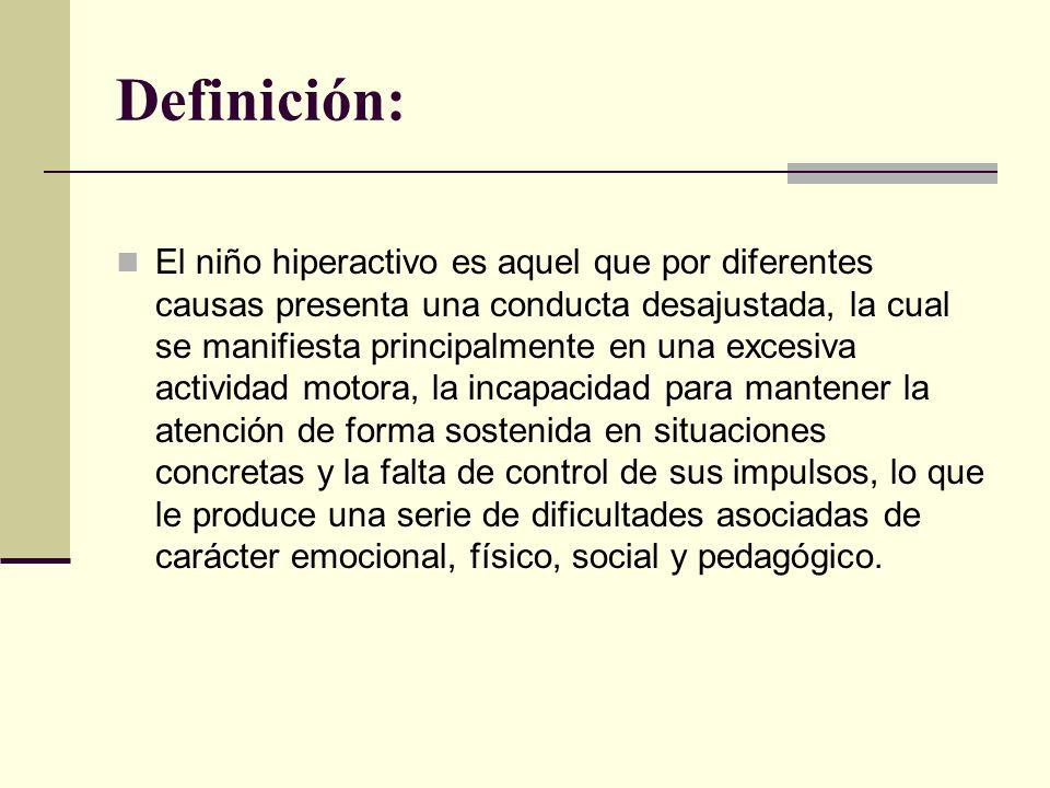 Definición: El niño hiperactivo es aquel que por diferentes causas presenta una conducta desajustada, la cual se manifiesta principalmente en una exce