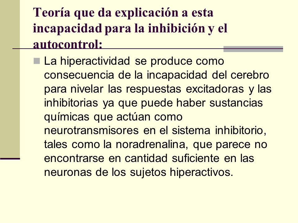 Teoría que da explicación a esta incapacidad para la inhibición y el autocontrol: La hiperactividad se produce como consecuencia de la incapacidad del