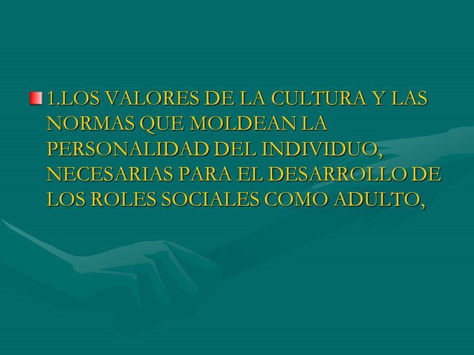 1.LOS VALORES DE LA CULTURA Y LAS NORMAS QUE MOLDEAN LA PERSONALIDAD DEL INDIVIDUO, NECESARIAS PARA EL DESARROLLO DE LOS ROLES SOCIALES COMO ADULTO,