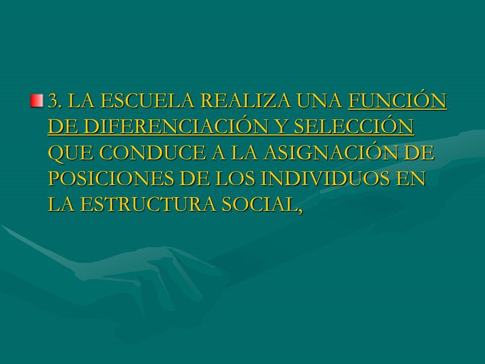 3. LA ESCUELA REALIZA UNA FUNCIÓN DE DIFERENCIACIÓN Y SELECCIÓN QUE CONDUCE A LA ASIGNACIÓN DE POSICIONES DE LOS INDIVIDUOS EN LA ESTRUCTURA SOCIAL,