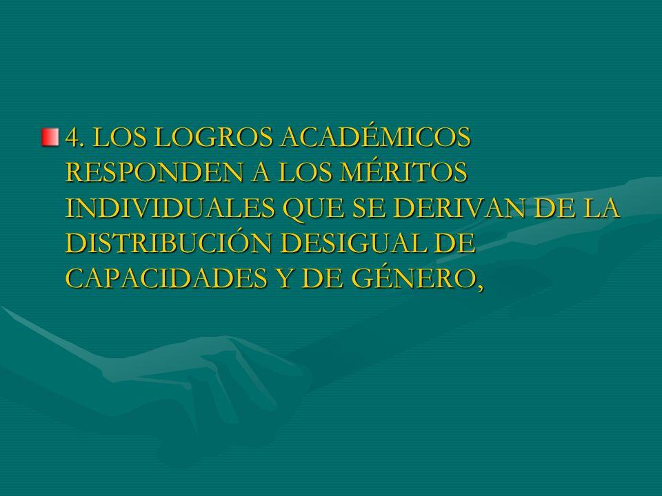 4. LOS LOGROS ACADÉMICOS RESPONDEN A LOS MÉRITOS INDIVIDUALES QUE SE DERIVAN DE LA DISTRIBUCIÓN DESIGUAL DE CAPACIDADES Y DE GÉNERO,
