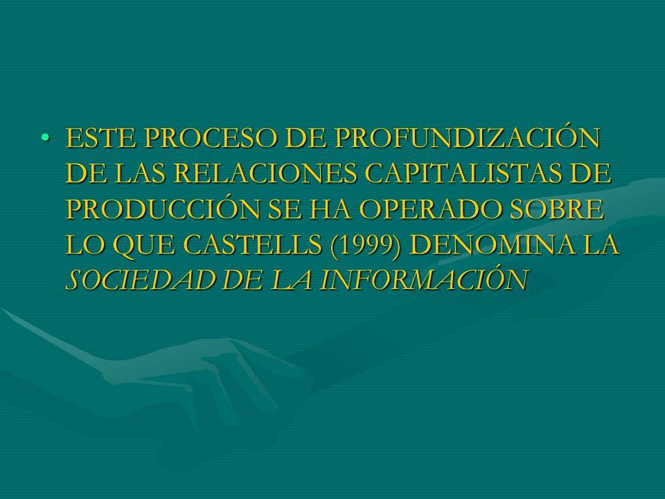 EN LA SOCIEDAD DE LA INFORMACIÓN, EL INSTRUMENTO CENTRAL DE DESARROLLO DE LAS RELACIONES CAPITALISTAS DE PRODUCCIÓN ES RESULTADO DE LA TECNOLOGÍA DE LA INFORMACIÓN DEBIDO A SU CAPACIDAD DE PENETRACIÓN EN TODOS LOS ÁMBITOS DE LA ACTIVIDAD HUMANA,EN LA SOCIEDAD DE LA INFORMACIÓN, EL INSTRUMENTO CENTRAL DE DESARROLLO DE LAS RELACIONES CAPITALISTAS DE PRODUCCIÓN ES RESULTADO DE LA TECNOLOGÍA DE LA INFORMACIÓN DEBIDO A SU CAPACIDAD DE PENETRACIÓN EN TODOS LOS ÁMBITOS DE LA ACTIVIDAD HUMANA,