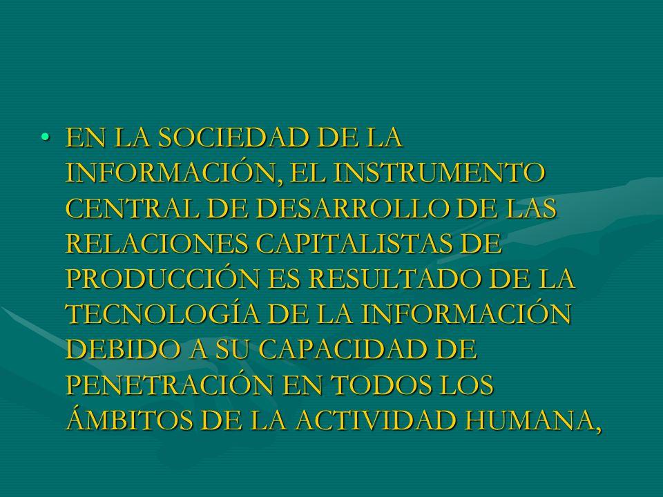 PARA CASTELLS, LA SOCIEDAD DE LA INFORMACIÓN ES EL RESULTADO DE LA ARTICULACIÓN EN UN SISTEMA DE: CIENCIA-TECNOLOGÍA-INDUSTRIA- SOCIEDAD, QUE HA PROFUNDIZADO LA COMPETITIVIDAD ENTRE LAS EMPRESAS Y LOS ESTADOS-NACIÓN,PARA CASTELLS, LA SOCIEDAD DE LA INFORMACIÓN ES EL RESULTADO DE LA ARTICULACIÓN EN UN SISTEMA DE: CIENCIA-TECNOLOGÍA-INDUSTRIA- SOCIEDAD, QUE HA PROFUNDIZADO LA COMPETITIVIDAD ENTRE LAS EMPRESAS Y LOS ESTADOS-NACIÓN,