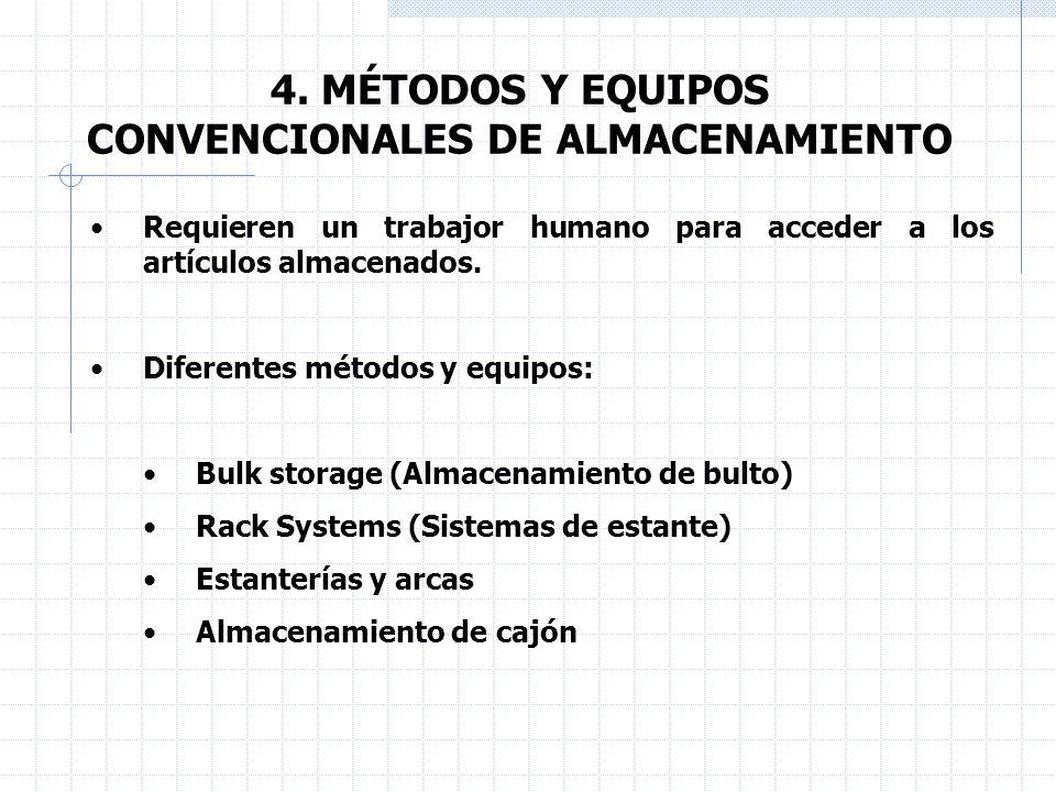 4. MÉTODOS Y EQUIPOS CONVENCIONALES DE ALMACENAMIENTO Bulk storage (Almacenamiento de bulto):