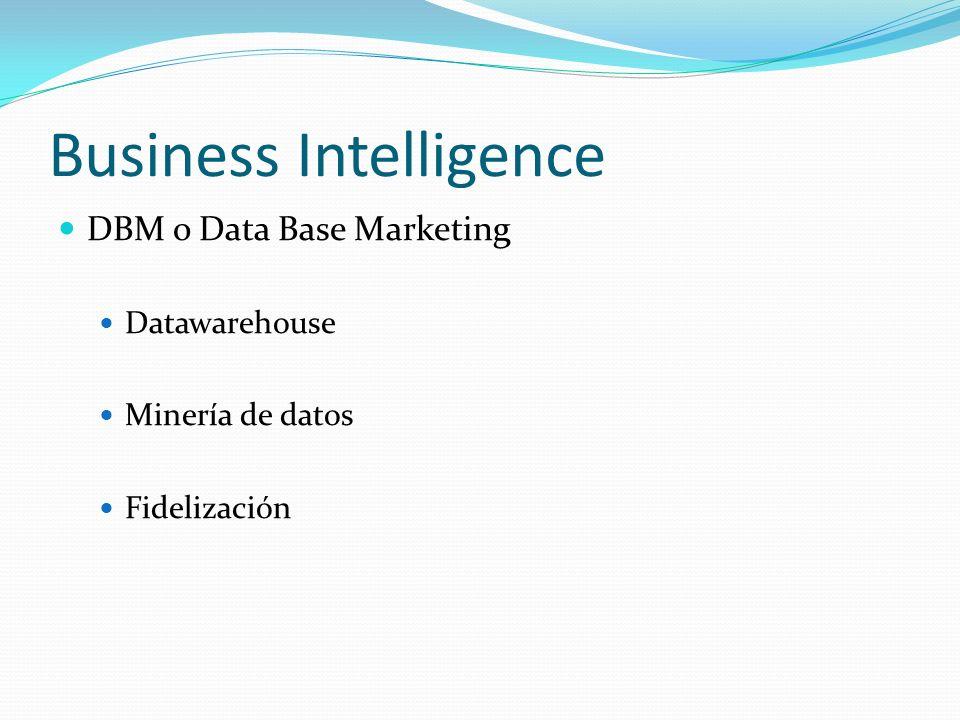 Business Intelligence DBM o Data Base Marketing Datawarehouse Minería de datos Fidelización