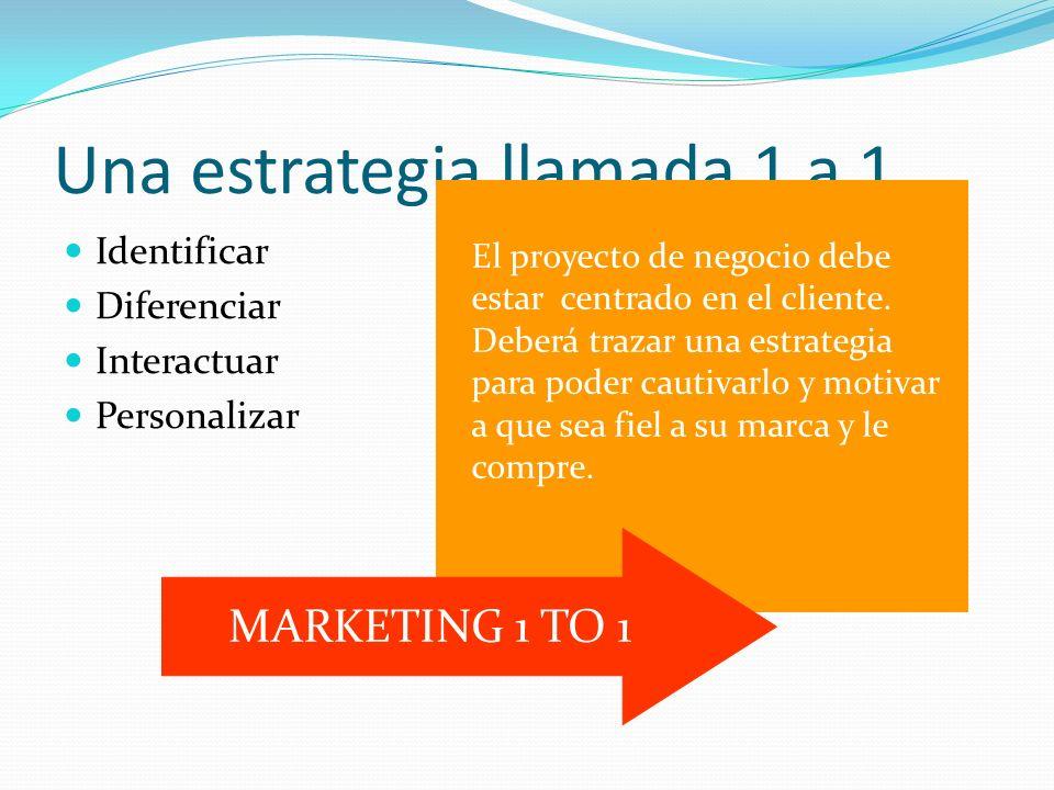 Una estrategia llamada 1 a 1 Identificar Diferenciar Interactuar Personalizar El proyecto de negocio debe estar centrado en el cliente.