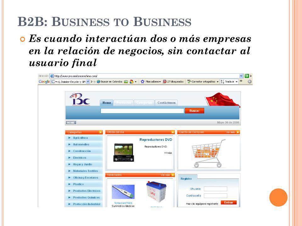 B2B: B USINESS TO B USINESS Es cuando interactúan dos o más empresas en la relación de negocios, sin contactar al usuario final