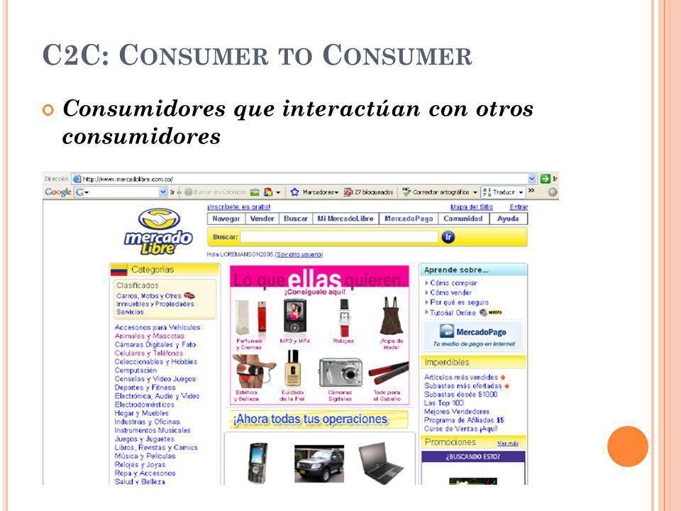 C2C: C ONSUMER TO C ONSUMER Consumidores que interactúan con otros consumidores