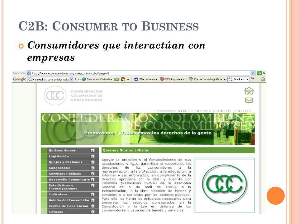 C2B: C ONSUMER TO B USINESS Consumidores que interactúan con empresas