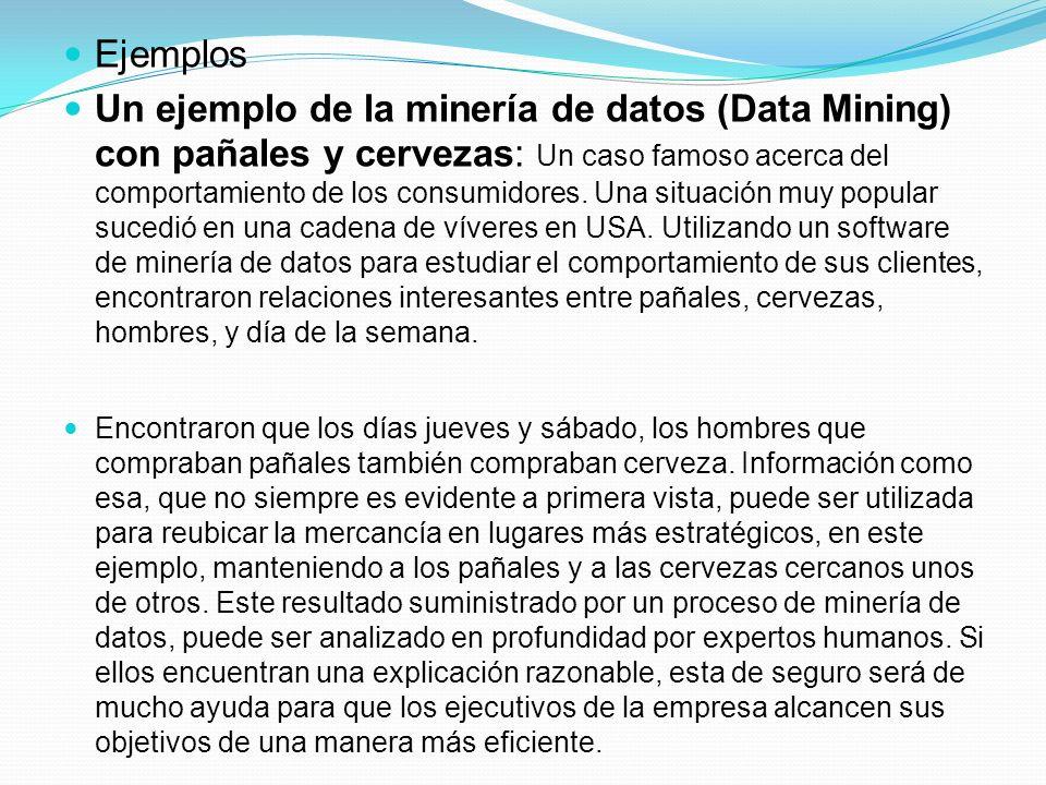 Ejemplos Un ejemplo de la minería de datos (Data Mining) con pañales y cervezas: Un caso famoso acerca del comportamiento de los consumidores. Una sit