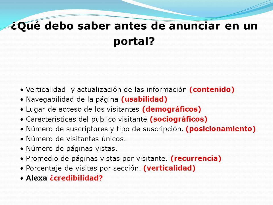 Verticalidad y actualización de las información (contenido) Navegabilidad de la página (usabilidad) Lugar de acceso de los visitantes (demográficos) C