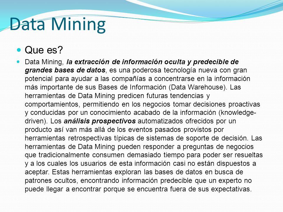 Data Mining Que es? Data Mining, la extracción de información oculta y predecible de grandes bases de datos, es una poderosa tecnología nueva con gran