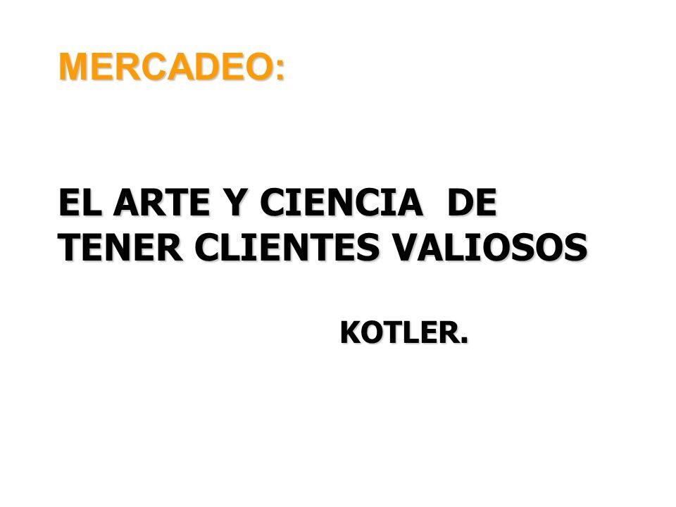 MERCADEO: EL ARTE Y CIENCIA DE TENER CLIENTES VALIOSOS KOTLER.