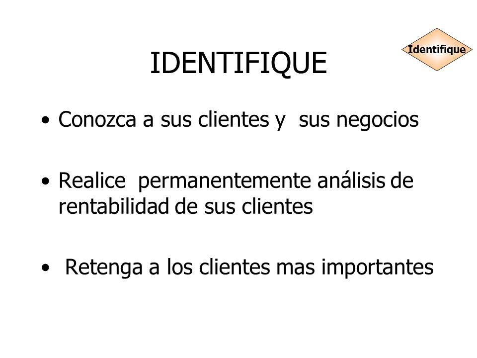 IDENTIFIQUE Conozca a sus clientes y sus negocios Realice permanentemente análisis de rentabilidad de sus clientes Retenga a los clientes mas importan