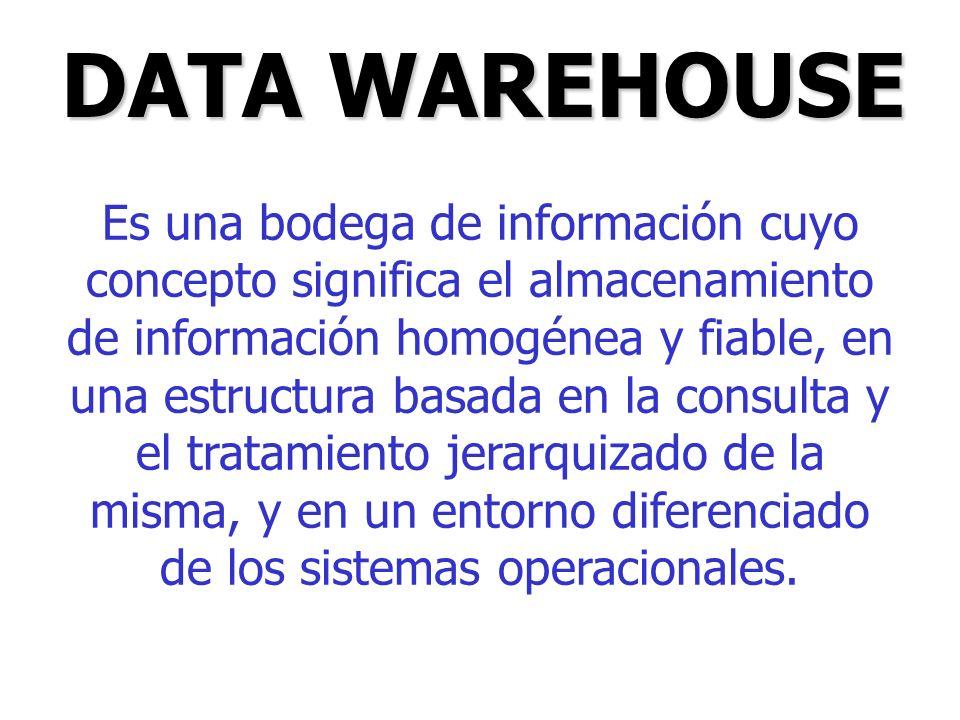 Es una bodega de información cuyo concepto significa el almacenamiento de información homogénea y fiable, en una estructura basada en la consulta y el
