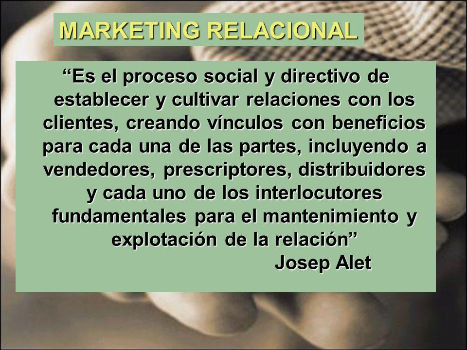 MARKETING RELACIONAL El Marketing Relacional es una forma del Marketing que identifica las necesidades de clientes y prospectos individuales y las satisface a través de la construcción de relaciones personales en beneficio mutuo y de manera rentable.