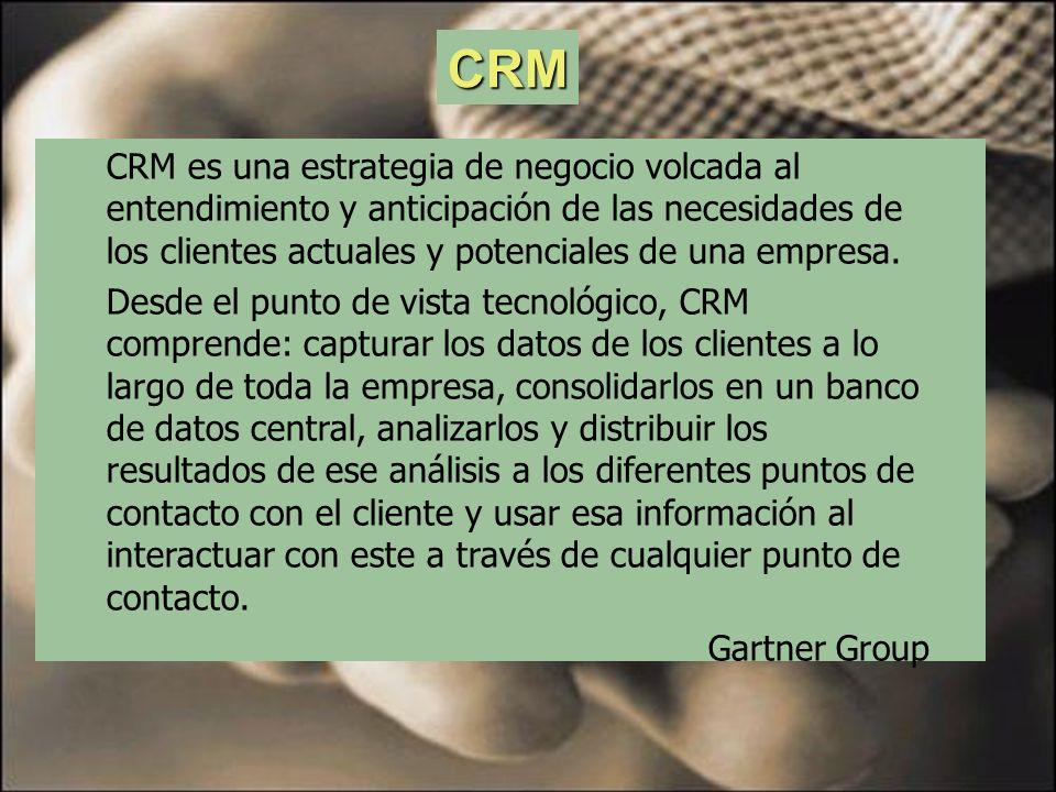 CRM CRM es una estrategia de negocio volcada al entendimiento y anticipación de las necesidades de los clientes actuales y potenciales de una empresa.