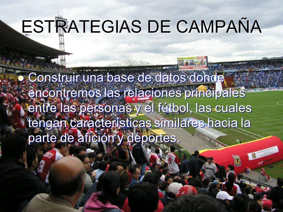 ESTRATEGIAS DE CAMPAÑA Construir una base de datos donde encontremos las relaciones principales entre las personas y el fútbol, las cuales tengan características similares hacia la parte de afición y deportes.