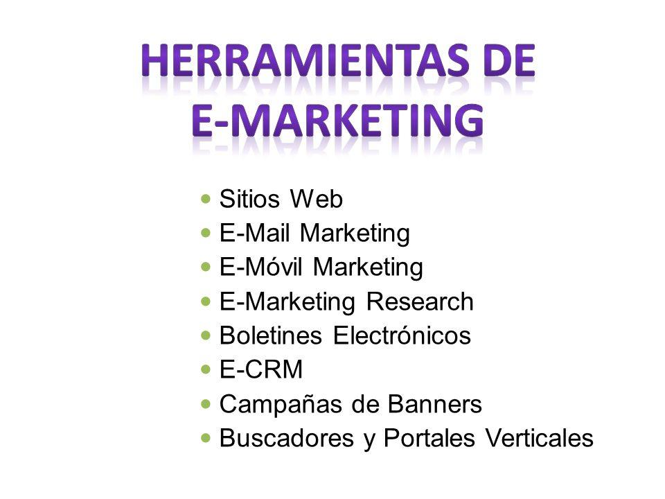 Sitios Web E-Mail Marketing E-Móvil Marketing E-Marketing Research Boletines Electrónicos E-CRM Campañas de Banners Buscadores y Portales Verticales