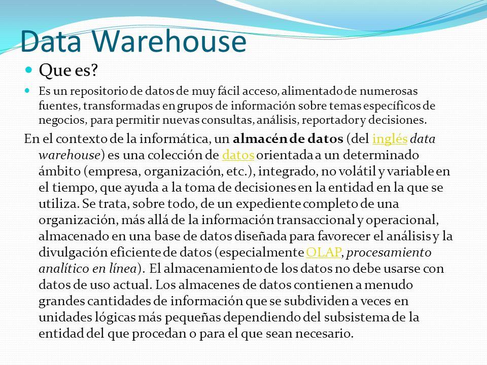 Data Warehouse Que es? Es un repositorio de datos de muy fácil acceso, alimentado de numerosas fuentes, transformadas en grupos de información sobre t