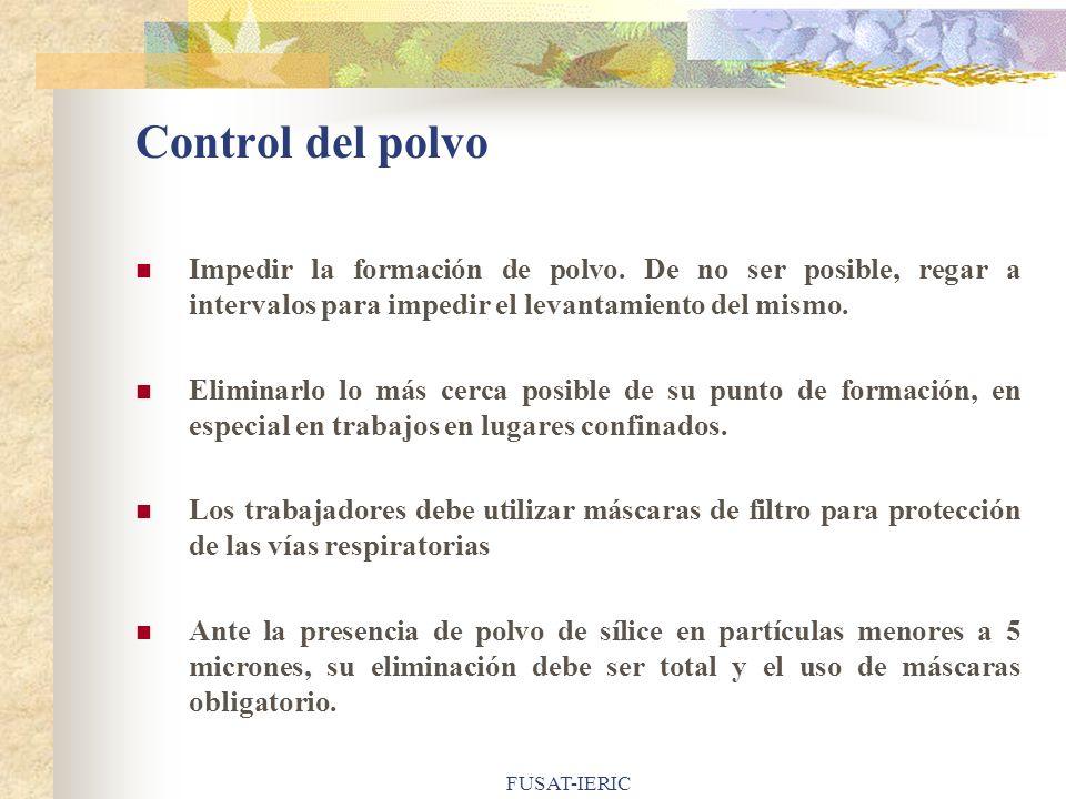 FUSAT-IERIC Control del polvo Impedir la formación de polvo. De no ser posible, regar a intervalos para impedir el levantamiento del mismo. Eliminarlo
