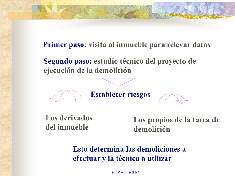 FUSAT-IERIC Primer paso: visita al inmueble para relevar datos Segundo paso: estudio técnico del proyecto de ejecución de la demolición Establecer rie