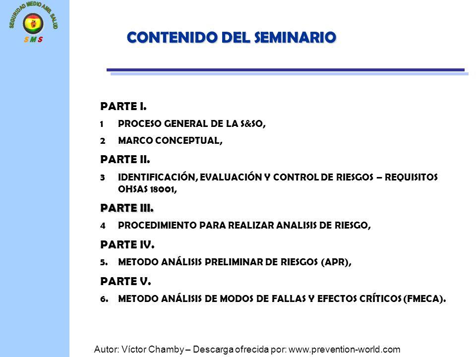 S M S Autor: Víctor Chamby – Descarga ofrecida por: www.prevention-world.com CONTENIDO DEL SEMINARIO PARTE I. 1PROCESO GENERAL DE LA S&SO, 2MARCO CONC