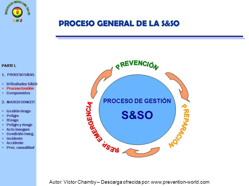S M S Autor: Víctor Chamby – Descarga ofrecida por: www.prevention-world.com PROCESO DE GESTIÓN S&SO PROCESO GENERAL DE LA S&SO PARTE I. 1. PROCESO S&
