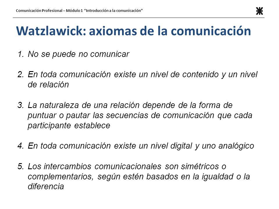 Watzlawick: axiomas de la comunicación 1.No se puede no comunicar 2.En toda comunicación existe un nivel de contenido y un nivel de relación 3.La natu