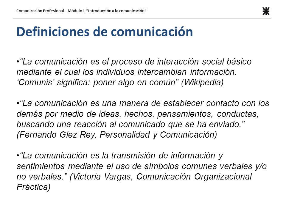 Definiciones de comunicación La comunicación es el proceso de interacción social básico mediante el cual los individuos intercambian información. Comu