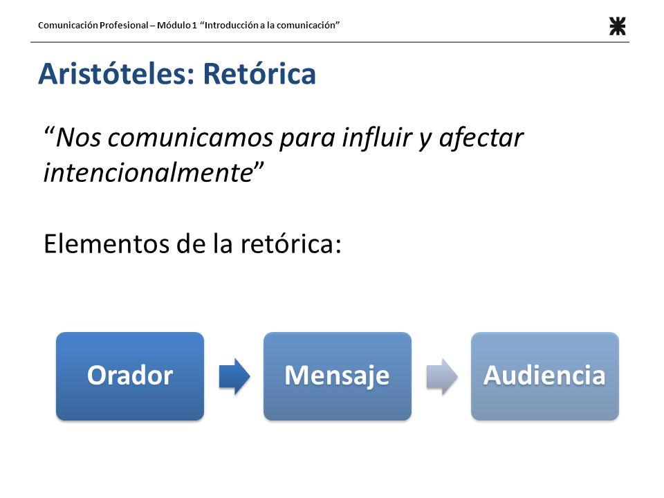 Aristóteles: Retórica Nos comunicamos para influir y afectar intencionalmente Elementos de la retórica: OradorMensajeAudiencia Comunicación Profesiona