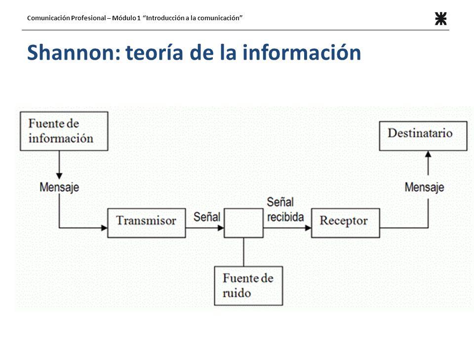 Shannon: teoría de la información Comunicación Profesional – Módulo 1 Introducción a la comunicación