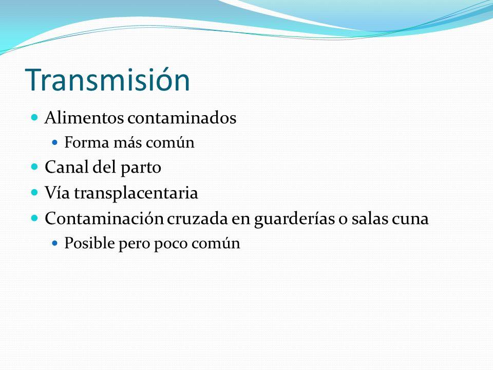Transmisión Alimentos contaminados Forma más común Canal del parto Vía transplacentaria Contaminación cruzada en guarderías o salas cuna Posible pero