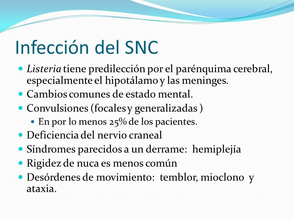 Infección del SNC Listeria tiene predilección por el parénquima cerebral, especialmente el hipotálamo y las meninges. Cambios comunes de estado mental