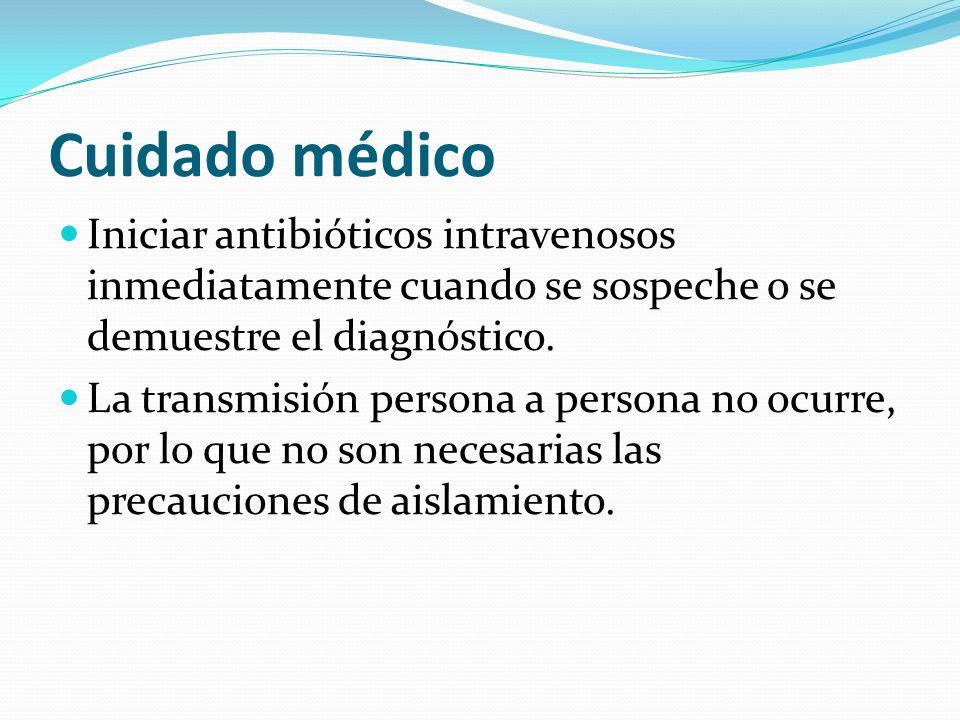 Cuidado médico Iniciar antibióticos intravenosos inmediatamente cuando se sospeche o se demuestre el diagnóstico. La transmisión persona a persona no