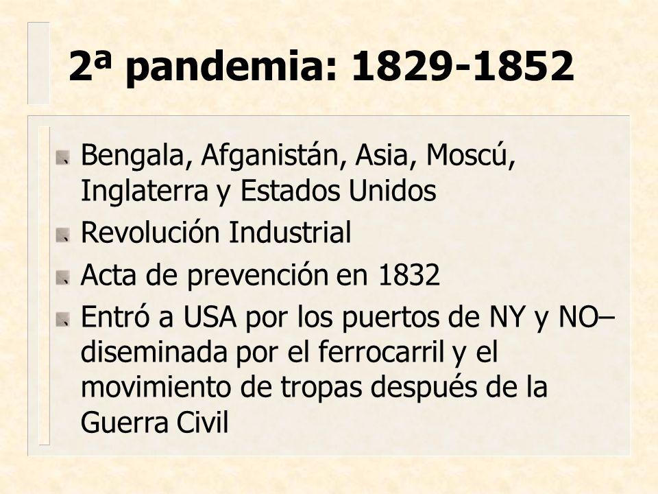 Bengala, Afganistán, Asia, Moscú, Inglaterra y Estados Unidos Revolución Industrial Acta de prevención en 1832 Entró a USA por los puertos de NY y NO–